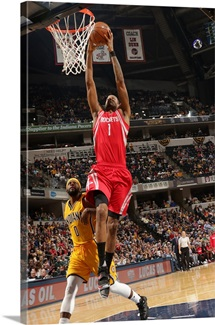 Trevor Ariza 1 of the Houston Rockets goes up for a dunk against the Indiana Pacers