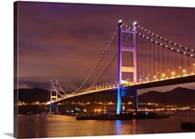 Tsing Ma Bridge at night.