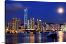 Tsuen Wan bay at night, Hong Kong