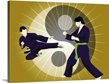 Two men performing martial arts in front of a yin yang symbol