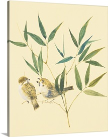 Two sparrows and bamboo leaves