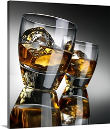 Two Whiskey Glasses with Reflections