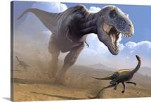 Tyrannosaurus rex dinosaur hunting an Ornithomimus dinosaur.