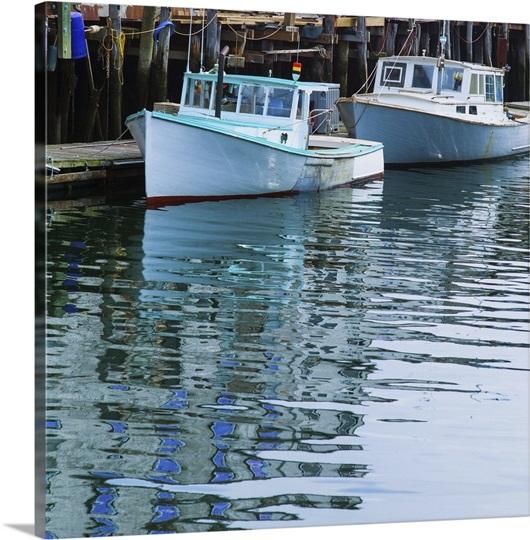 Usa maine portland fishing boats in harbor photo canvas for Portland maine fishing