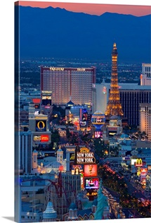 USA, Nevada, Las Vegas, The Strip at night, elevated view