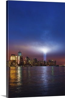 USA, New York City, Manhattan, 9/11 light memorial