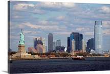USA, New York City, Skyline with Statue of Liberty