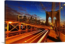USA, New York State, New York City, Brooklyn Bridge at dusk