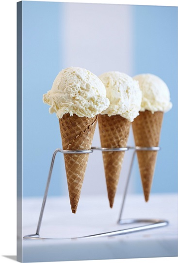 Vanilla Ice Cream on Waffle Cones Photo Canvas Print | Great Big ...