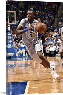 Victor Oladipo of the Orlando Magic drives to the basket