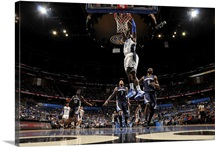 Victor Oladipo of the Orlando Magic dunks the ball against the Memphis Grizzlies