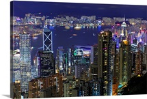 View of cityscape of Hong Kong at night.