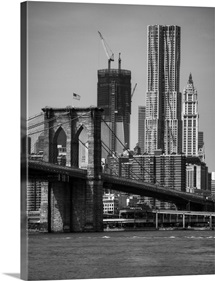 View of One World Trade Center and brooklyn bridge in New York city skyline.
