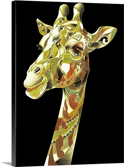 View of patterned giraffe against black background