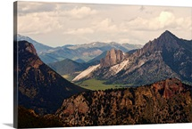 View of Yellowstone mountain range from national park.