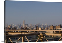 View over new york city from Brooklyn bridge.