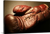 Vintage Red Boxing Glove Under Light