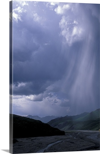 Virga and rain showers, East Fork River, Denali National Park, Alaska, USA