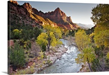Watchman is peak that towers over the Virgin River and entrance of Zion National Park.