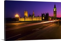 Westminster Bridge, Houses of Parliament and Big Ben Clock Tower at night, London