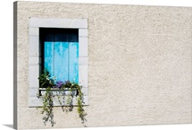 Window and window-box of flowers in plain wall