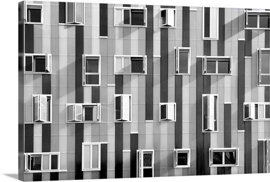 Windows in modern building with unusual distribution for Windows distribution