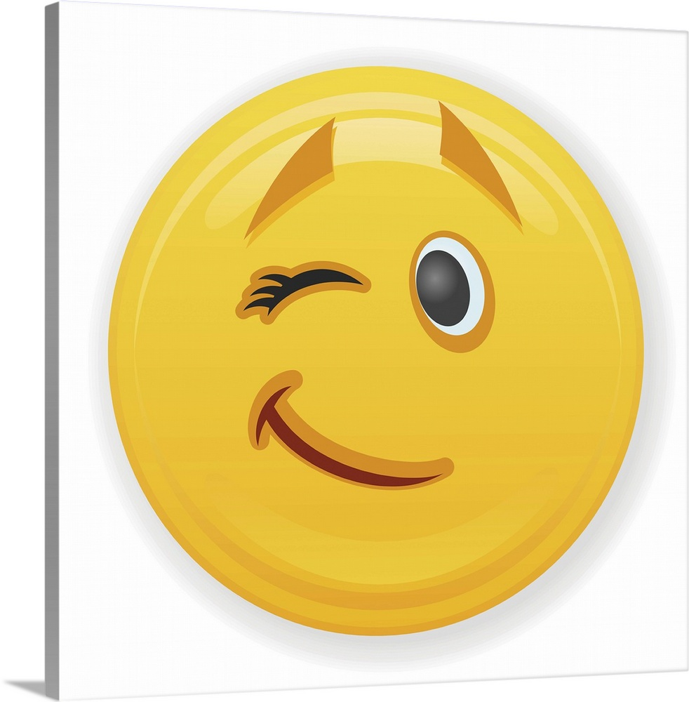 Premium Thick-Wrap Canvas Wall Art entitled Winking Emoji With ...