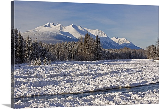 Winter landscape with Bulkley River and Hudson Bay Mountain, British Columbia, Canada