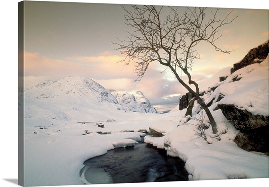 Winter scene in Glencoe, Argyll, Highland, Scotland.