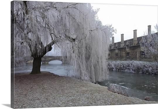 Winter scene over the river Welland Meadows in the market town of Stamford
