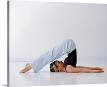 Woman in a yoga position