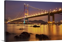 Wonderful twilight and city colors of Tsing Ma Bridge after Sundown.