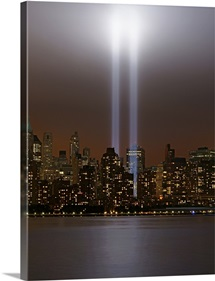 World Trade Center tribute in light in New York.