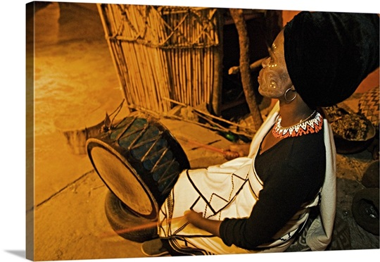Xhosa woman drummer. Lesedi Cultural Village near Johannesburg, South Africa