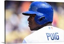Yasiel Puig of the Los Angeles Dodgers prepares to bat