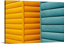 Yellow and blue beach huts abstract.