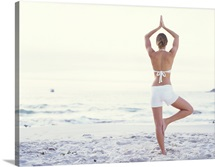 Young woman in tree pose on beach, rear view
