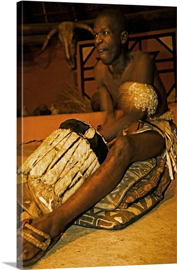Zulu drummer. Lesedi Cultural Village near Johannesburg, South Africa