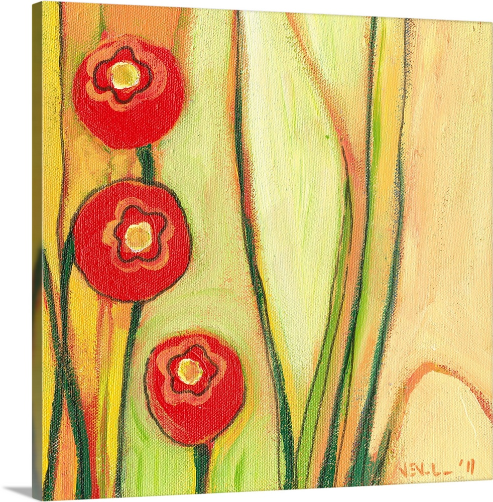 Red Poppies Canvas Wall Art - Elitflat