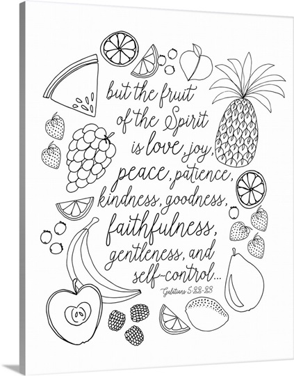 Fruit Of The Spirit Handlettered Coloring Photo Canvas