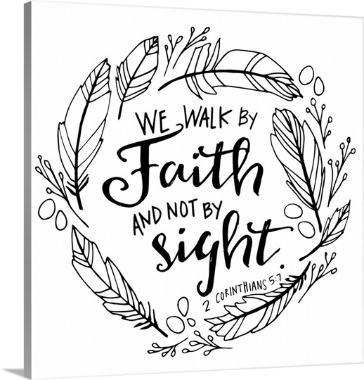 We Walk By Faith Handlettered Coloring Photo Canvas Print