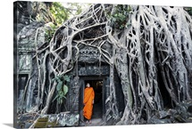 Cambodia, Siem Reap, Angkor Wat complex. Buddhist monk inside Ta Prohm temple