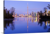 Canada, Ontario, Toronto, CN Tower and Downtown Skyline from Toronto Island