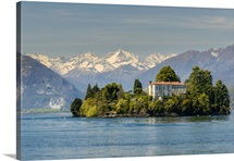 Isola Madre with snowy Alps behind, Lake Maggiore, Piedmont, Italy