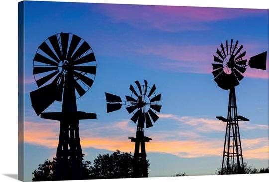 Oklahoma Elk City Vintage Farm Windmills Photo Canvas