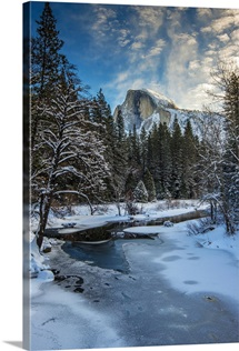 Tenaya creek with Half Dome mountain behind, Yosemite National Park, California