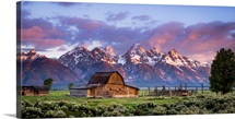 Mormon Barn with a Dramatic Sunrise, Jackson, Wyoming