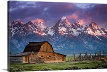 Sun Rises Over Mormon Barn, Grand Teton National Park, Wyoming