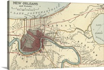 New Orleans - Vintage Map
