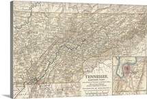 Tennessee, Eastern Part - Vintage Map